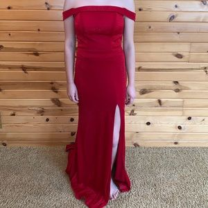 Red Off-the-Shoulder Prom Dress